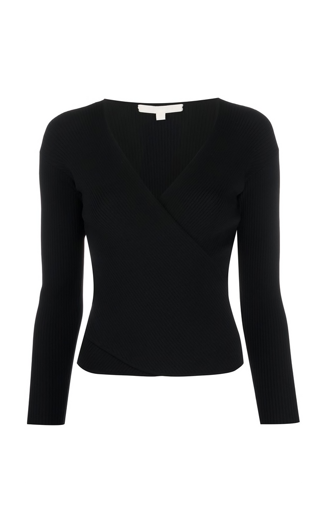 Long Sleeve Wrap Top In Black