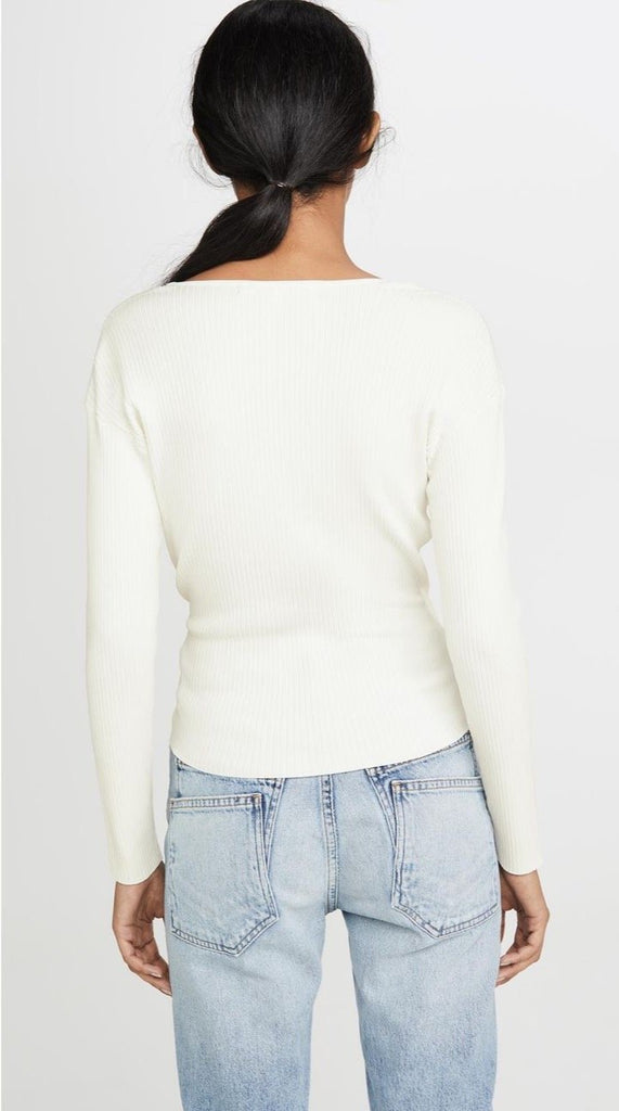 Long Sleeve Wrap Top In White