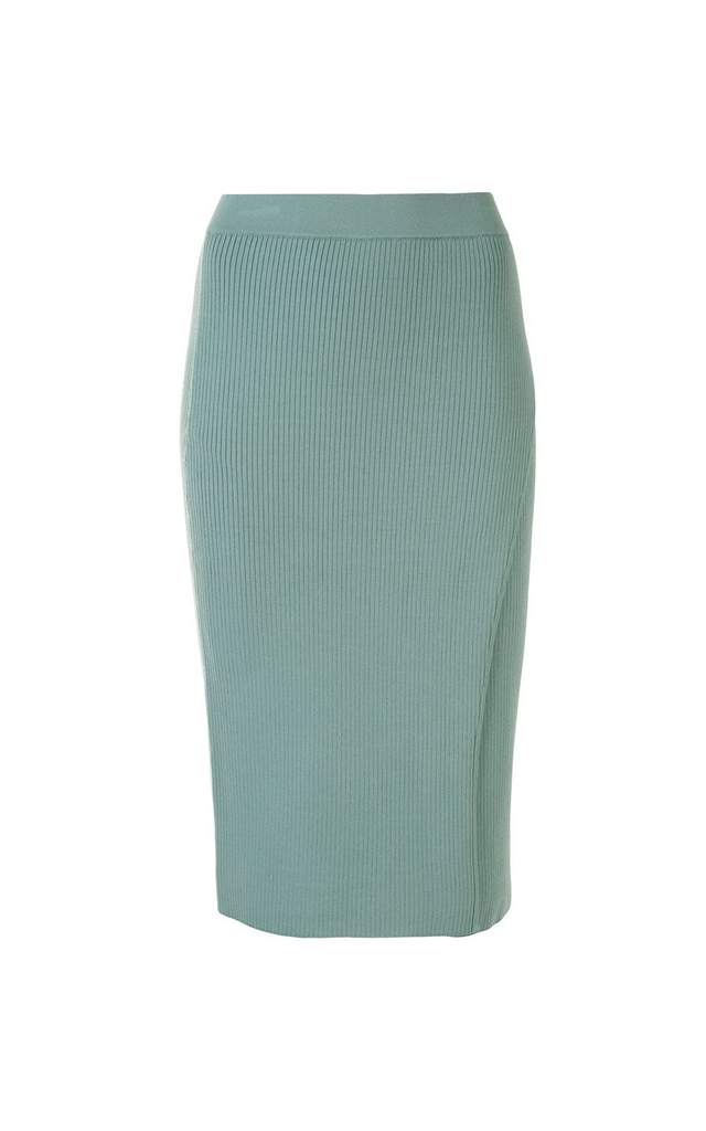 Ribbed Pencil Skirt Ocean Green