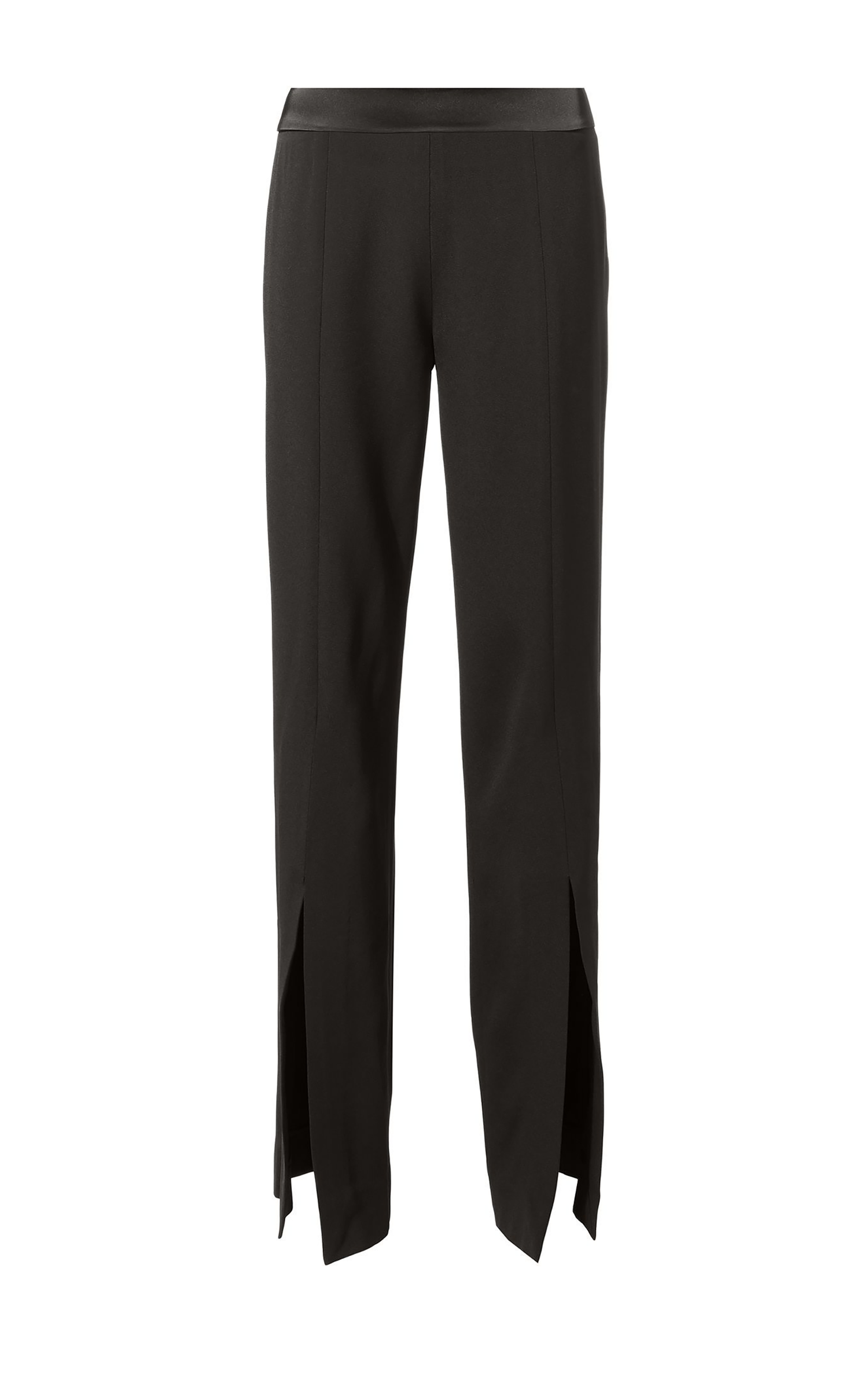 Satin Front Slit Pants Black