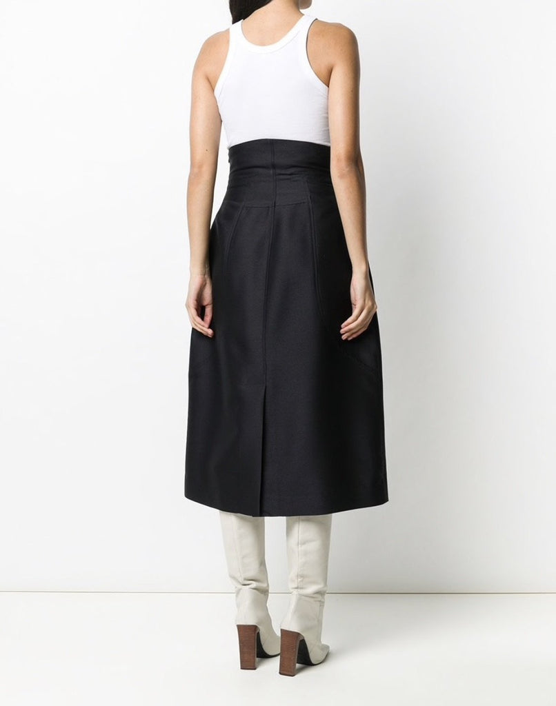 Curve Line Volume Skirt Black