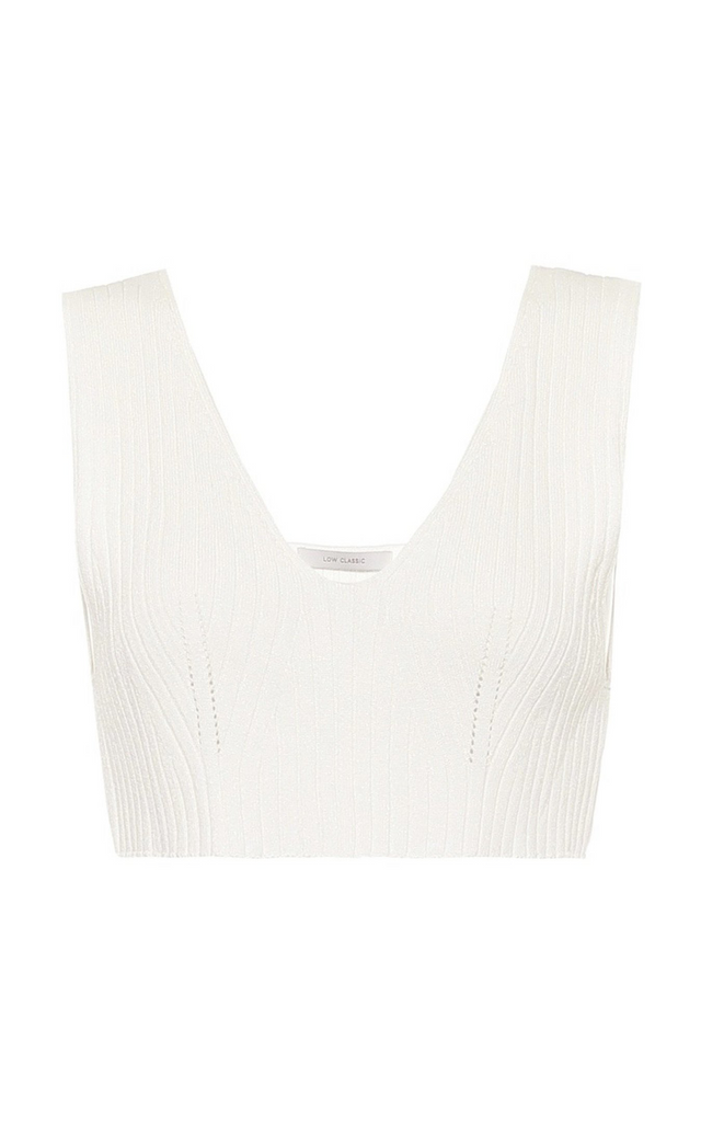 Ribbed Knit Crop Top White