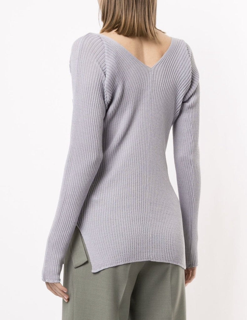 V-neck Ribbed Knitted top Lilac
