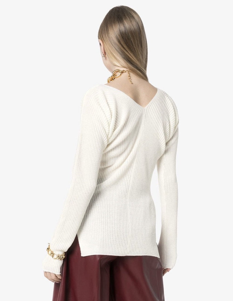 V-neck Ribbed Knitted top White
