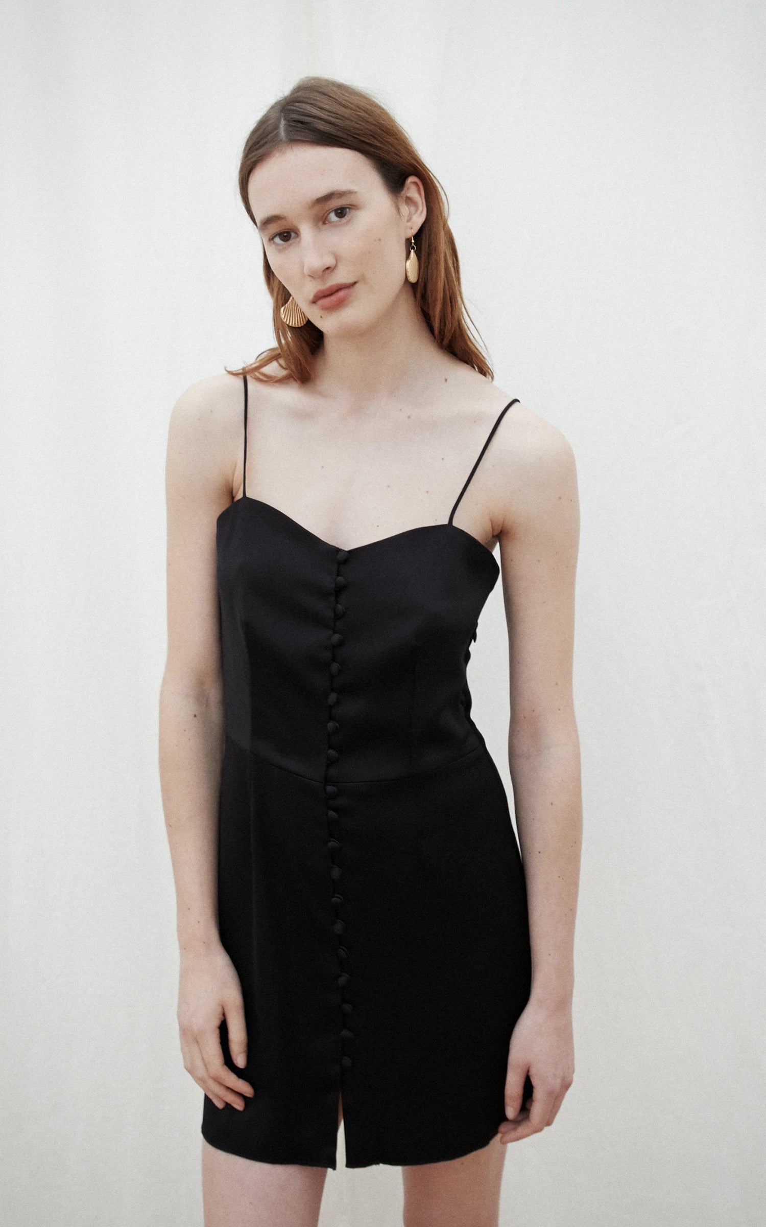 Nanushka Mabel black satin mini dress