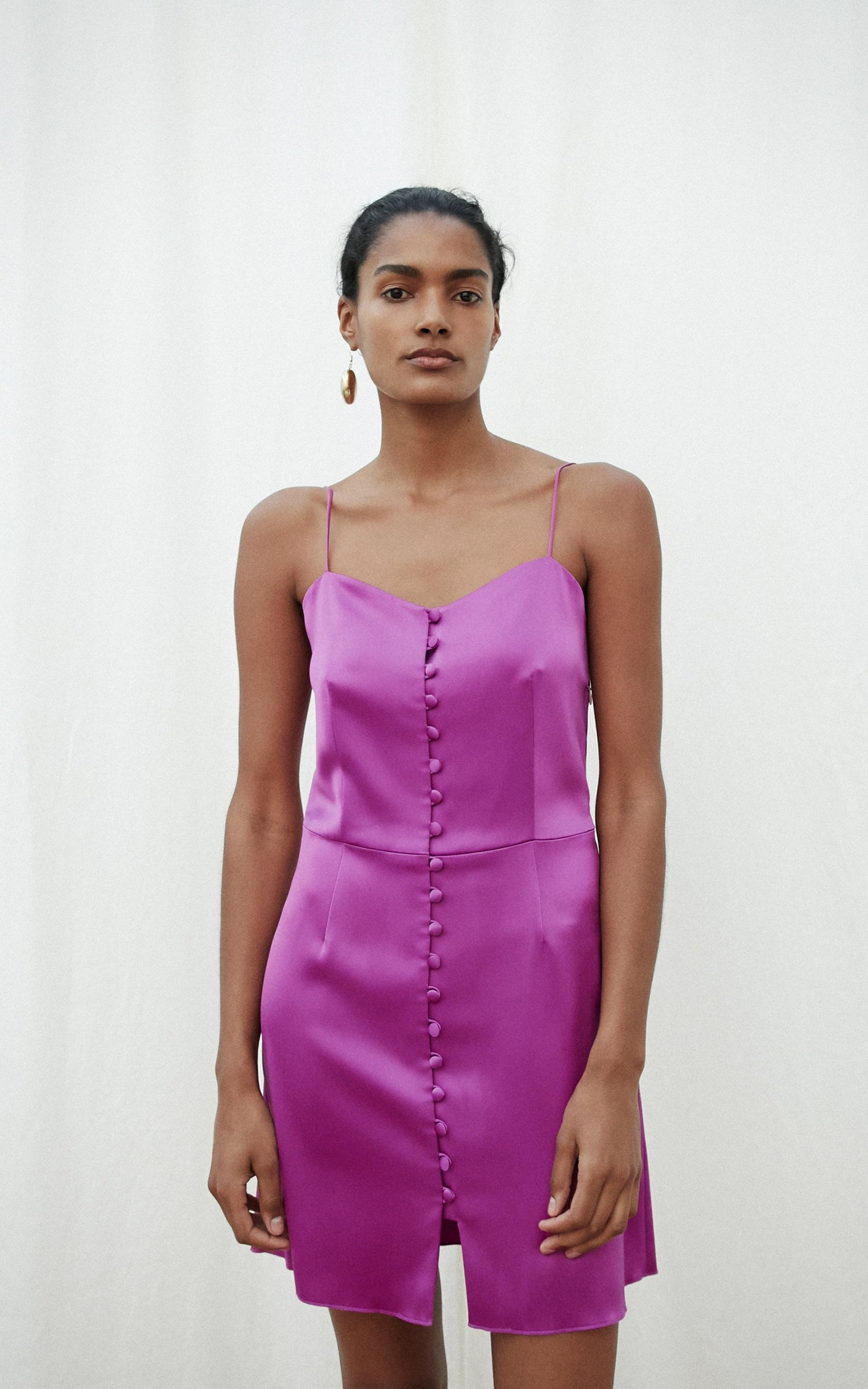 Nanushka Mabel rosebud satin mini dress