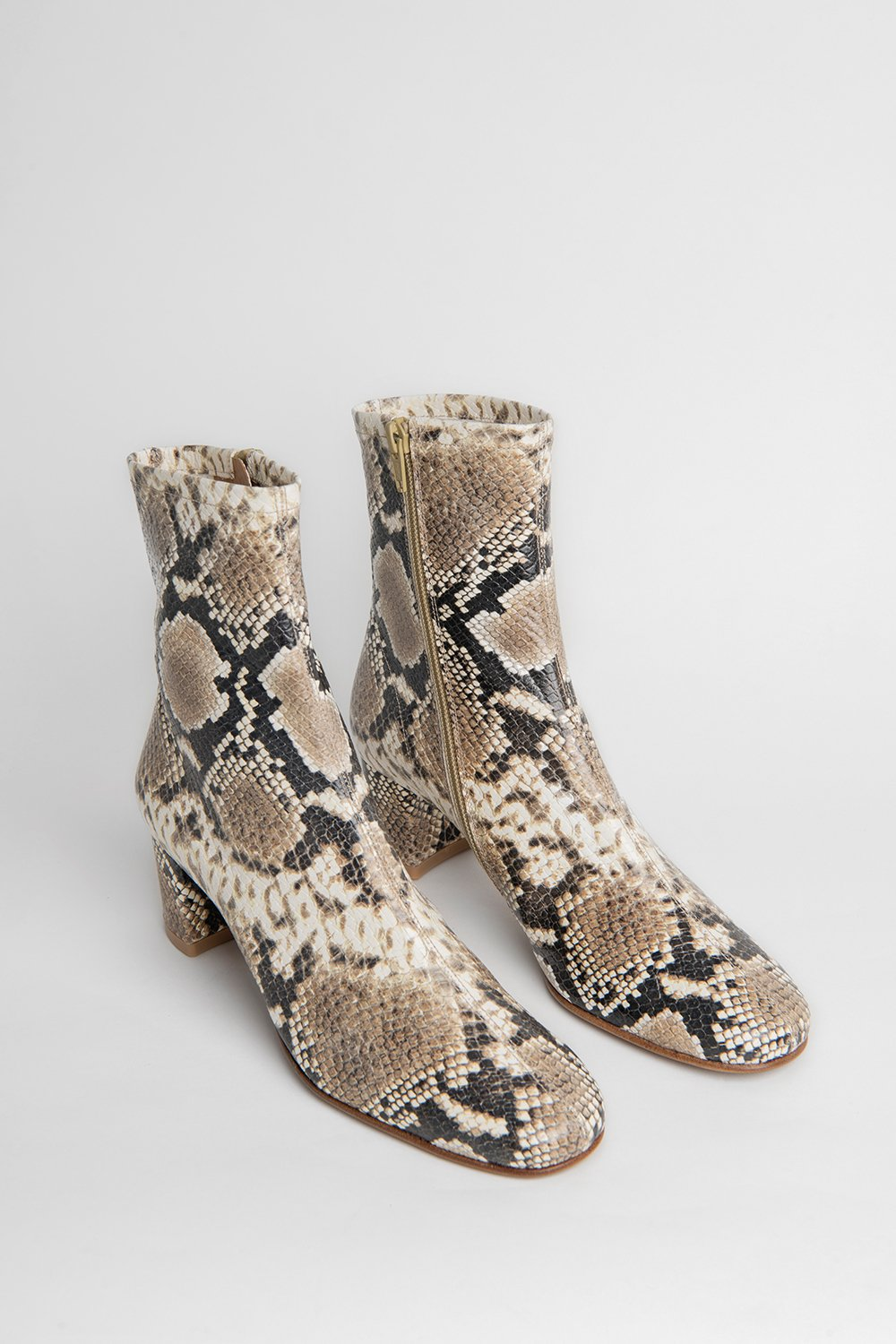 BY FAR Sofia Snake Print Leather Boots