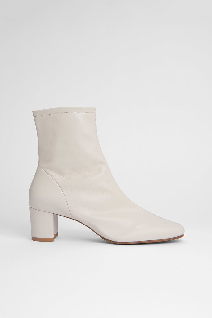 BY FAR Sofia White Leather Boots