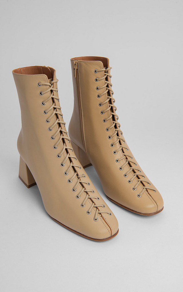 Becca Cream Leather Boots