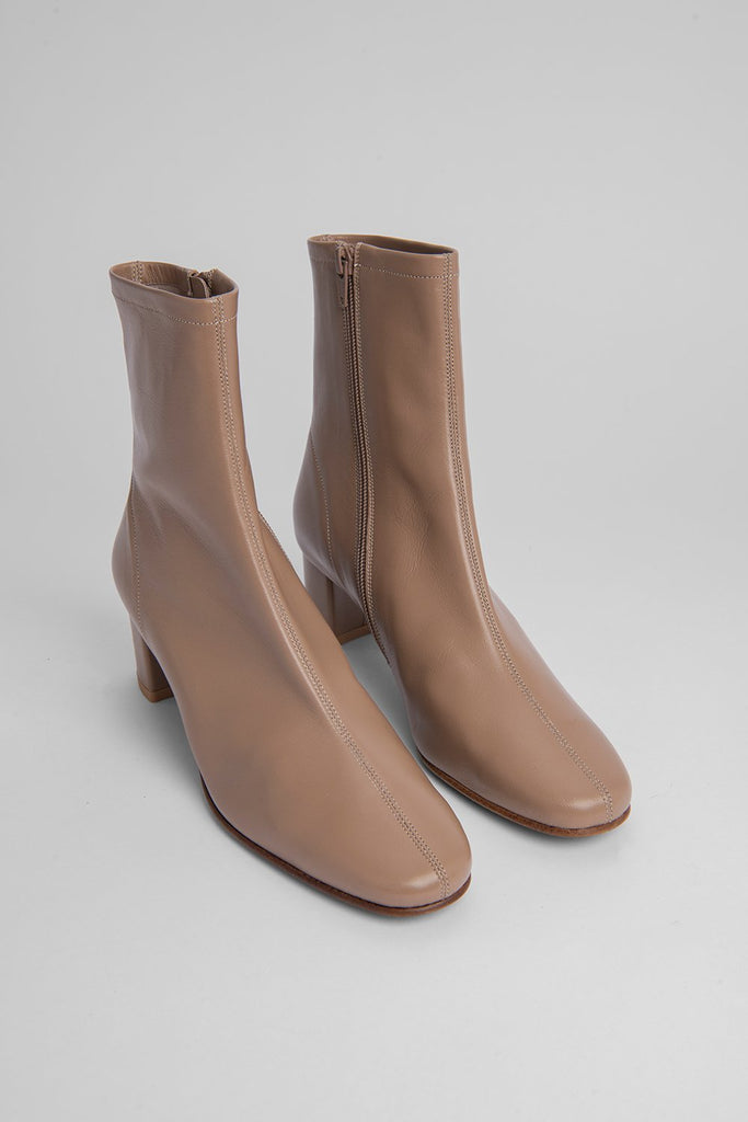 BY FAR Sofia Nude Leather Boots