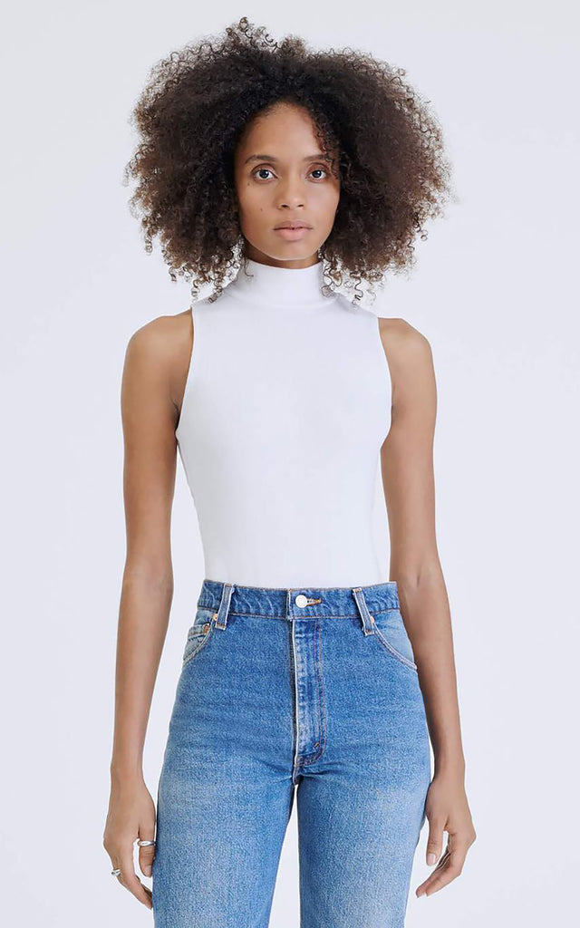 60s Mock Neck Bodysuit Off-White