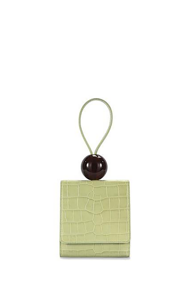 Sage Green Croco Embossed Leather Ball bag