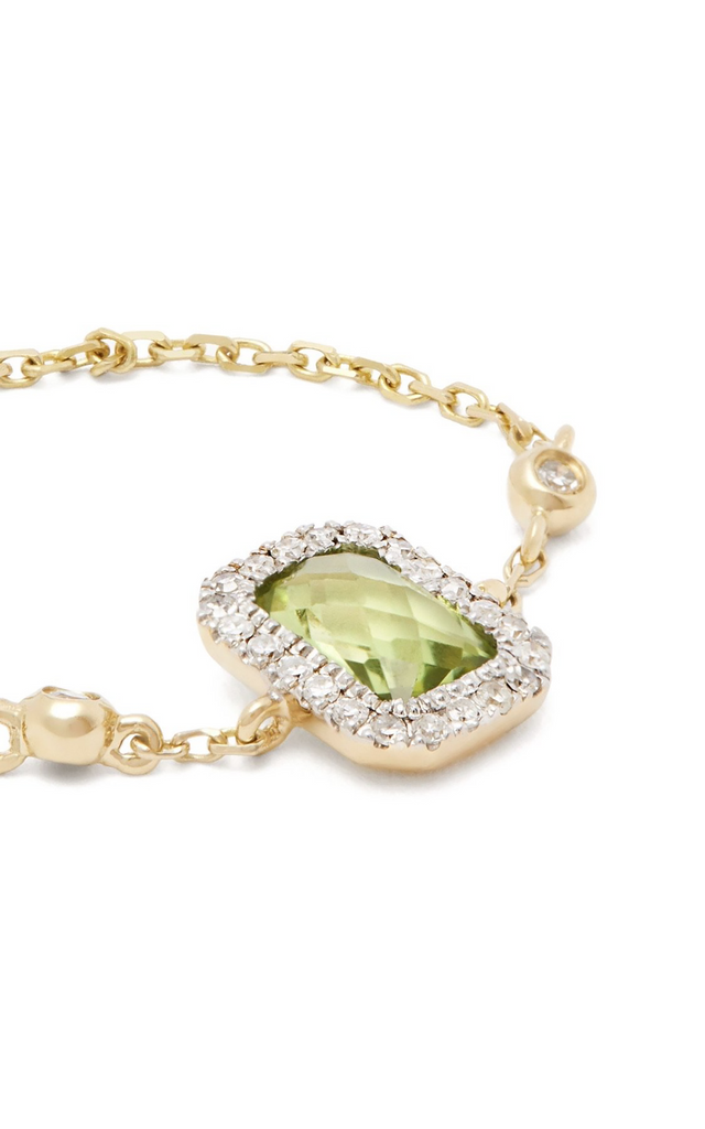 Peridot and Gold Chain Ring