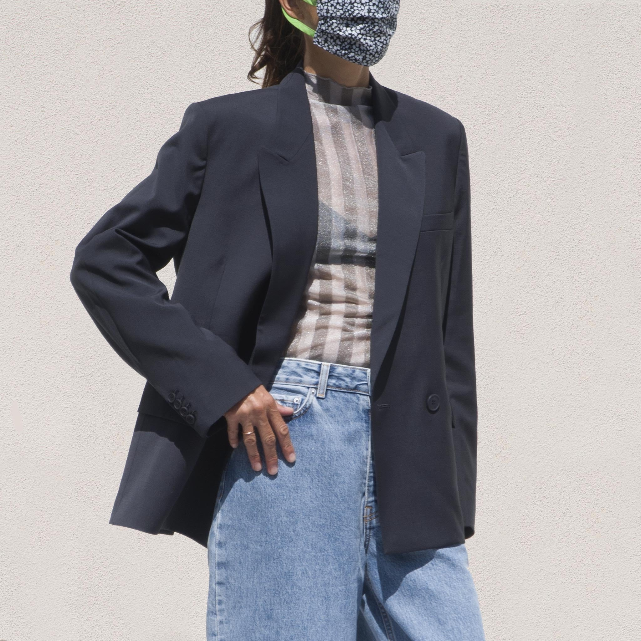 Double Breasted Oversized Blazer Blue Green