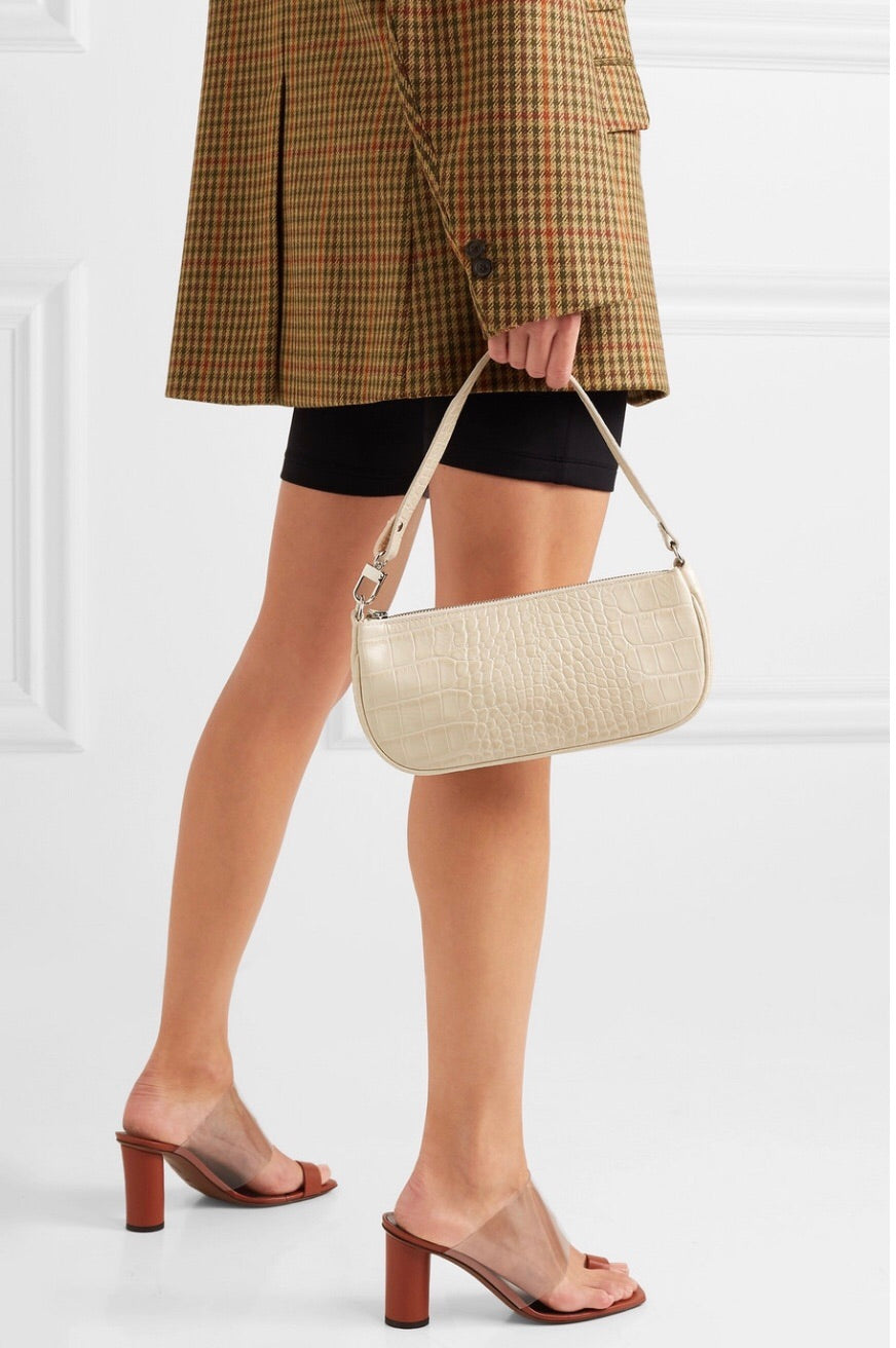 By Far Rachel bag cream croco
