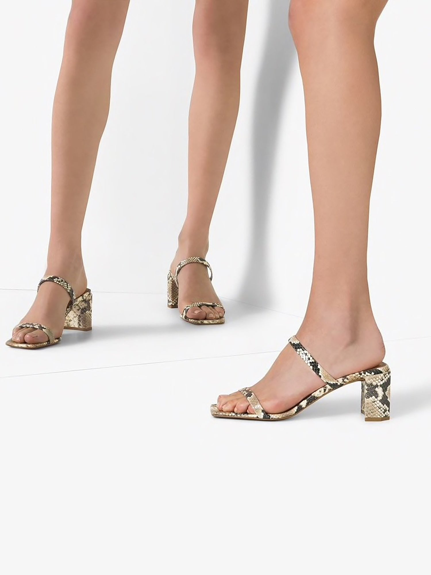 By far Tanya snakeskin- effect leather sandals