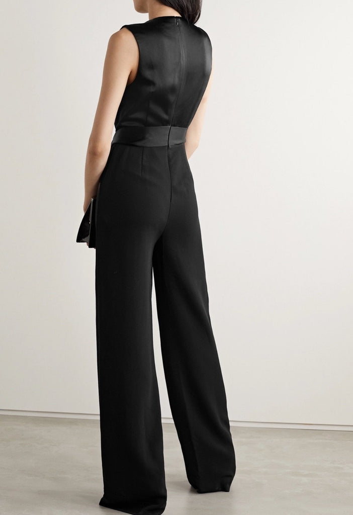 Fluid Satin Jumpsuit Black