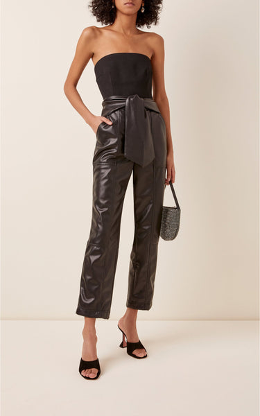 Jonathan Simkhai Tessa Vegan-Leather Cropped Pants Black