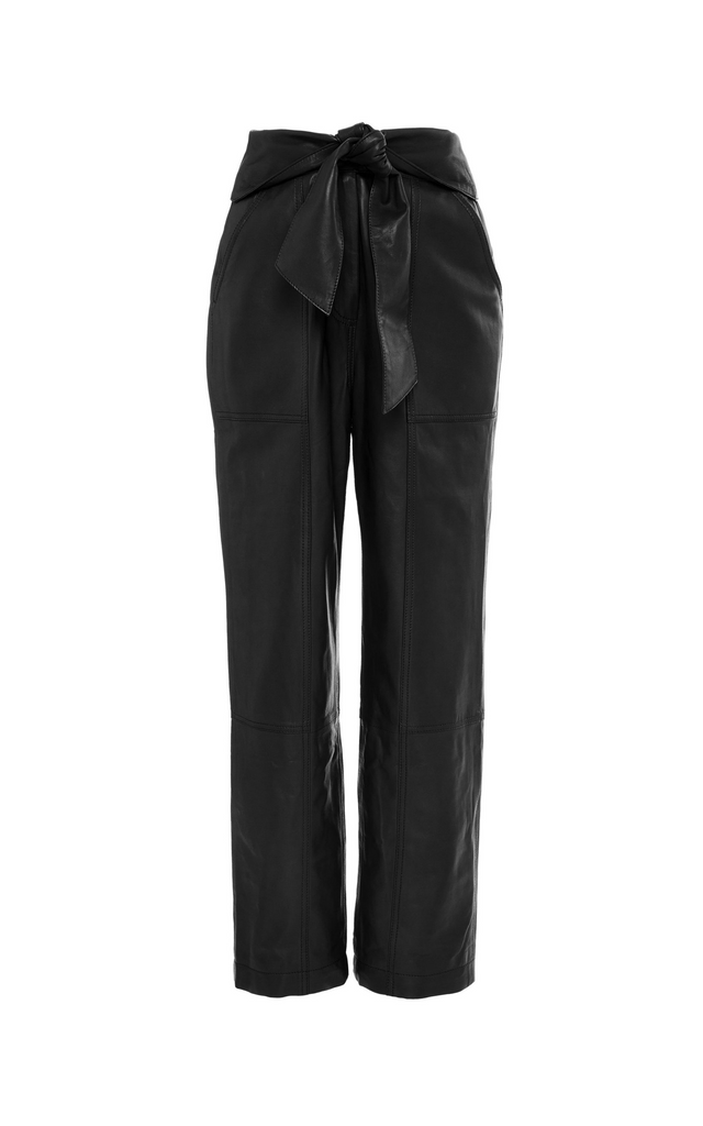 Tessa Vegan-Leather Cropped Pants Black