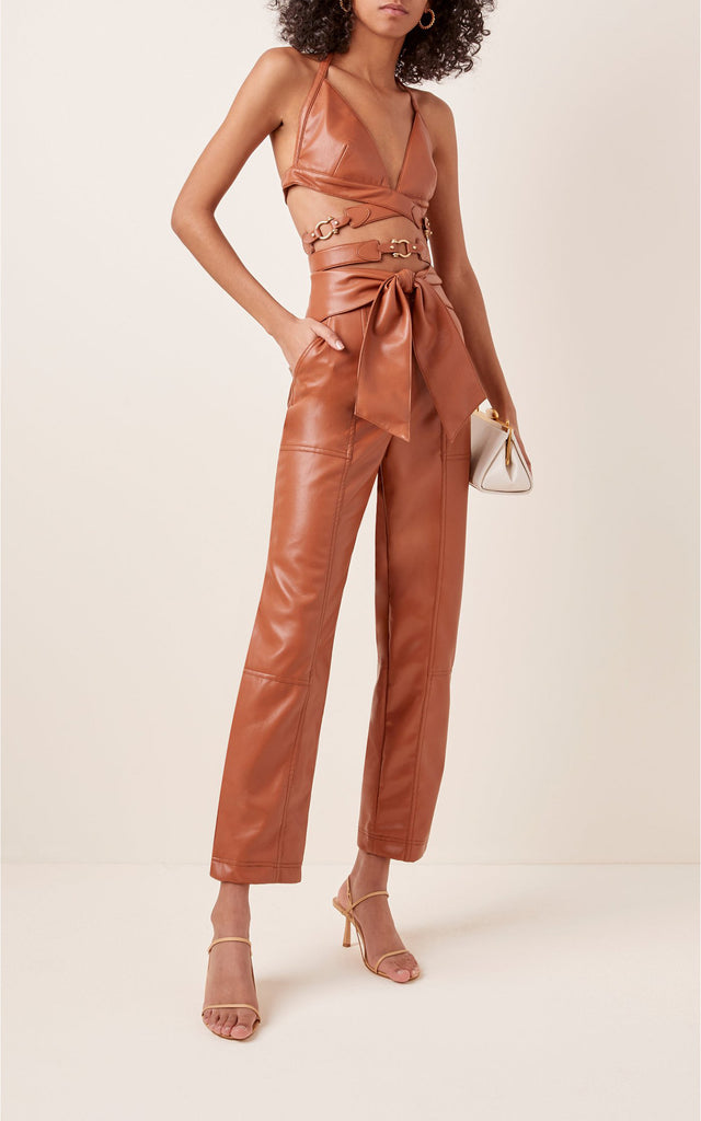 Tessa Vegan-Leather Cropped Pants Brown