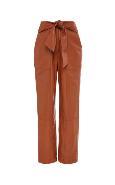 Jonathan Simkhai Tessa Vegan-Leather Cropped Pants Brown