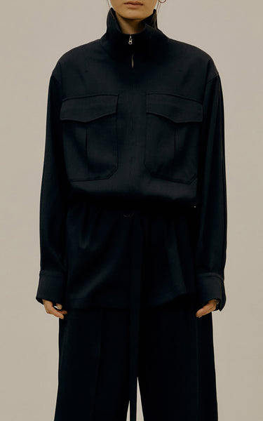 Belted Crepe De Chine Zip-Front Jacket Black