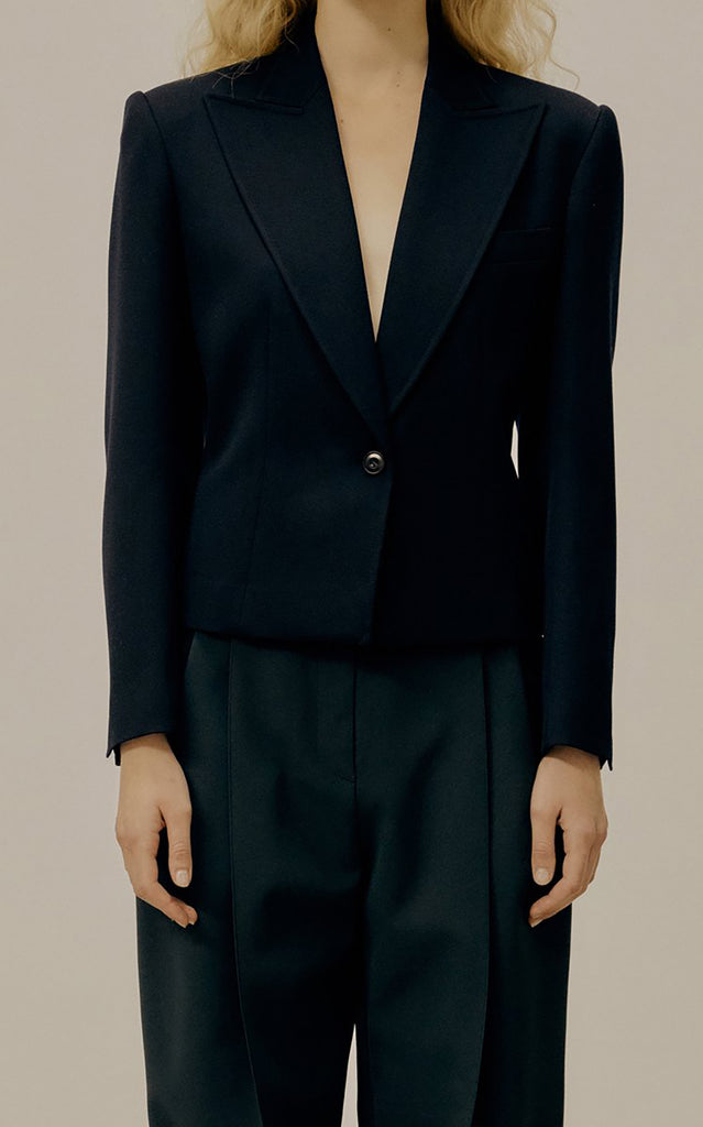 Cropped Wool-Blend Blazer Navy