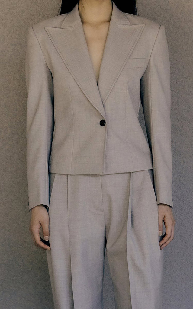 Cropped Wool-Blend Blazer Neutral