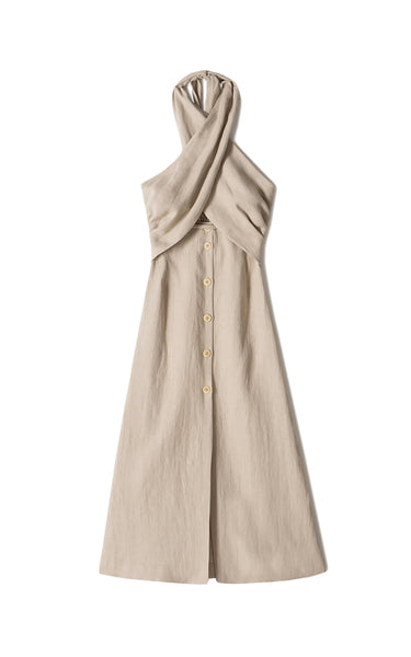 Soffio Linen halterneck dress Taupe