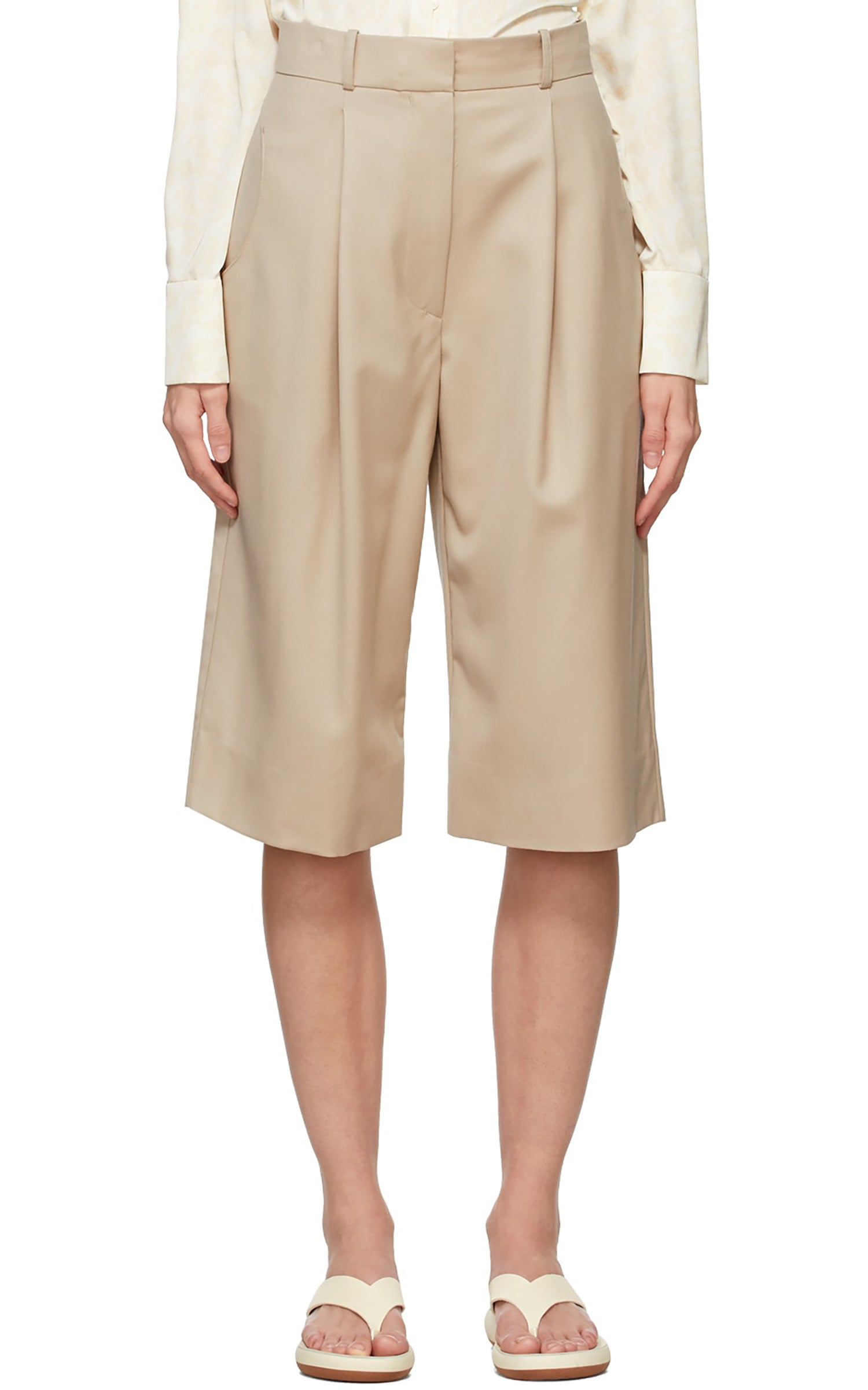 Beige Wool Bermuda Shorts