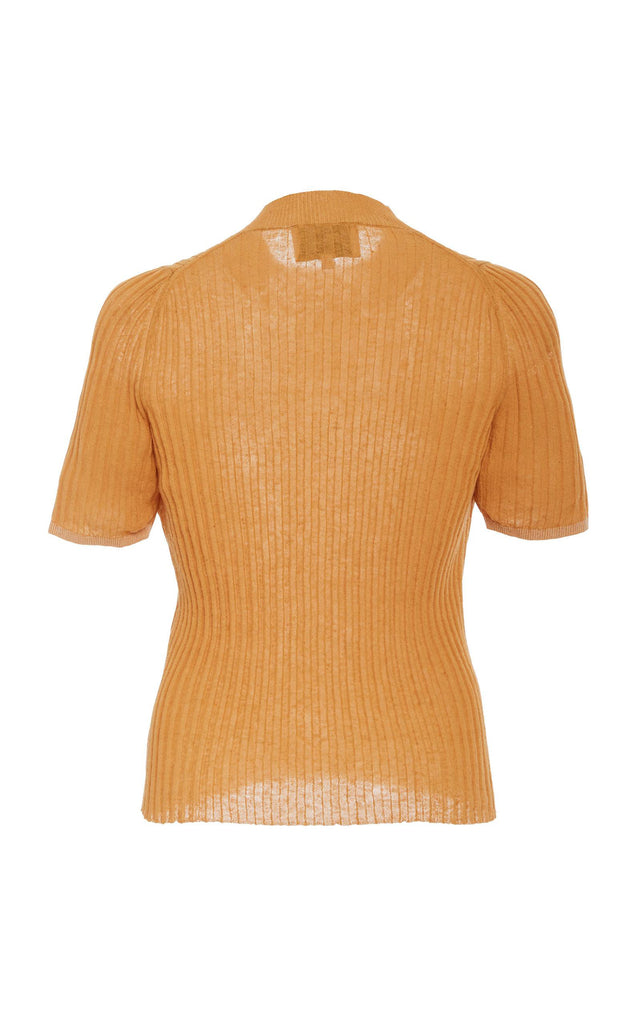 Ange burnt-orange turtleneck top