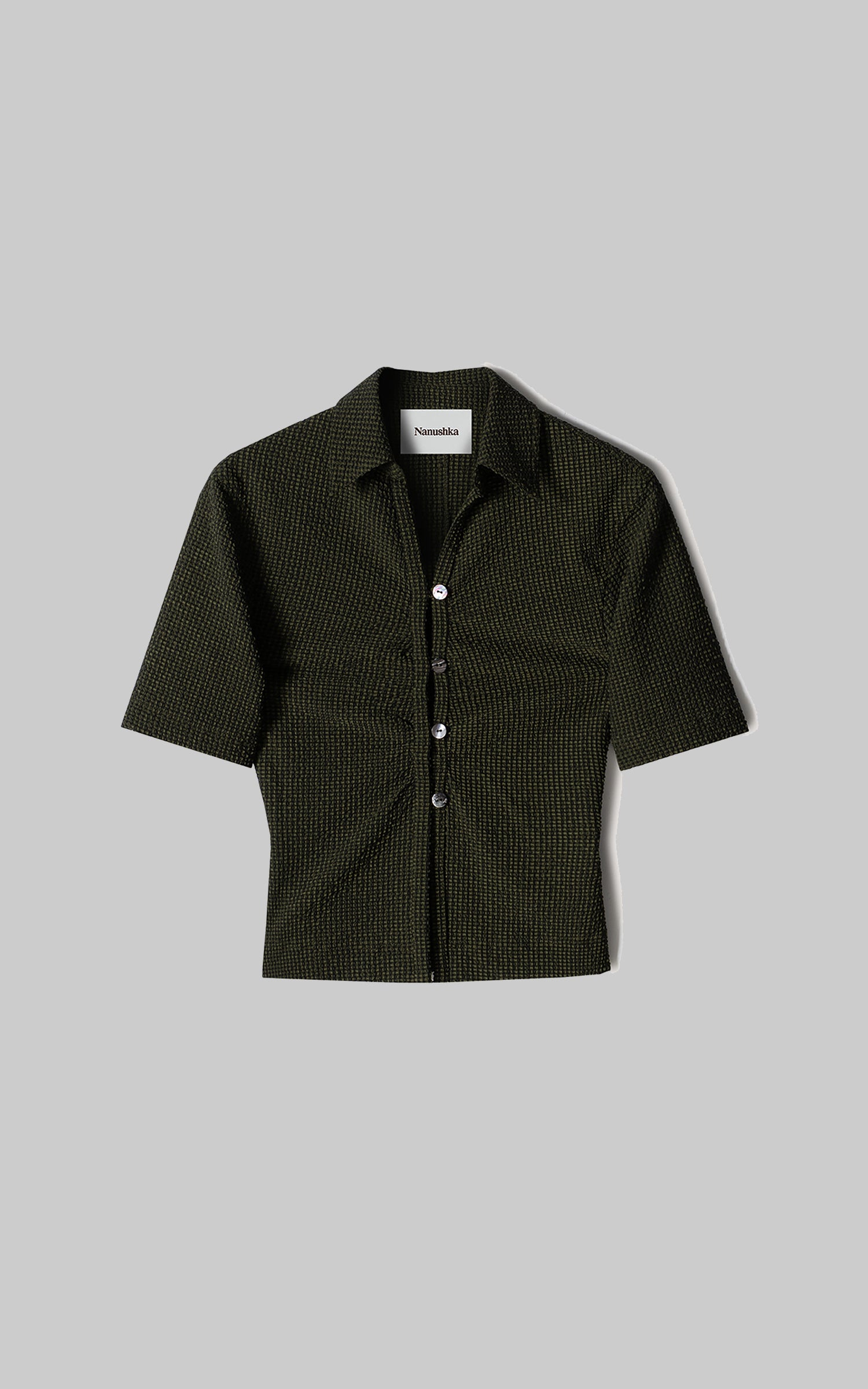 SAFF Checked seersucker shirt Khaki