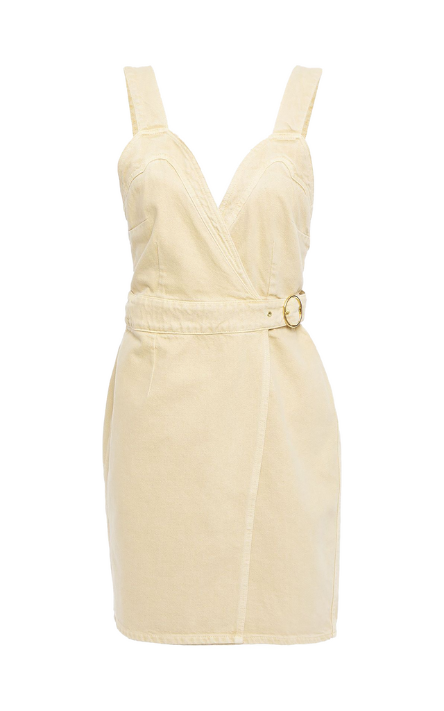 Giza creme denim wrap dress