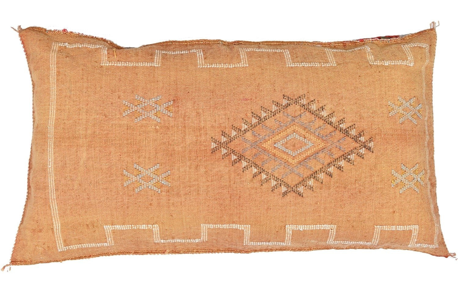 Coussin Orange en soie de cactus - Moroccan Furniture