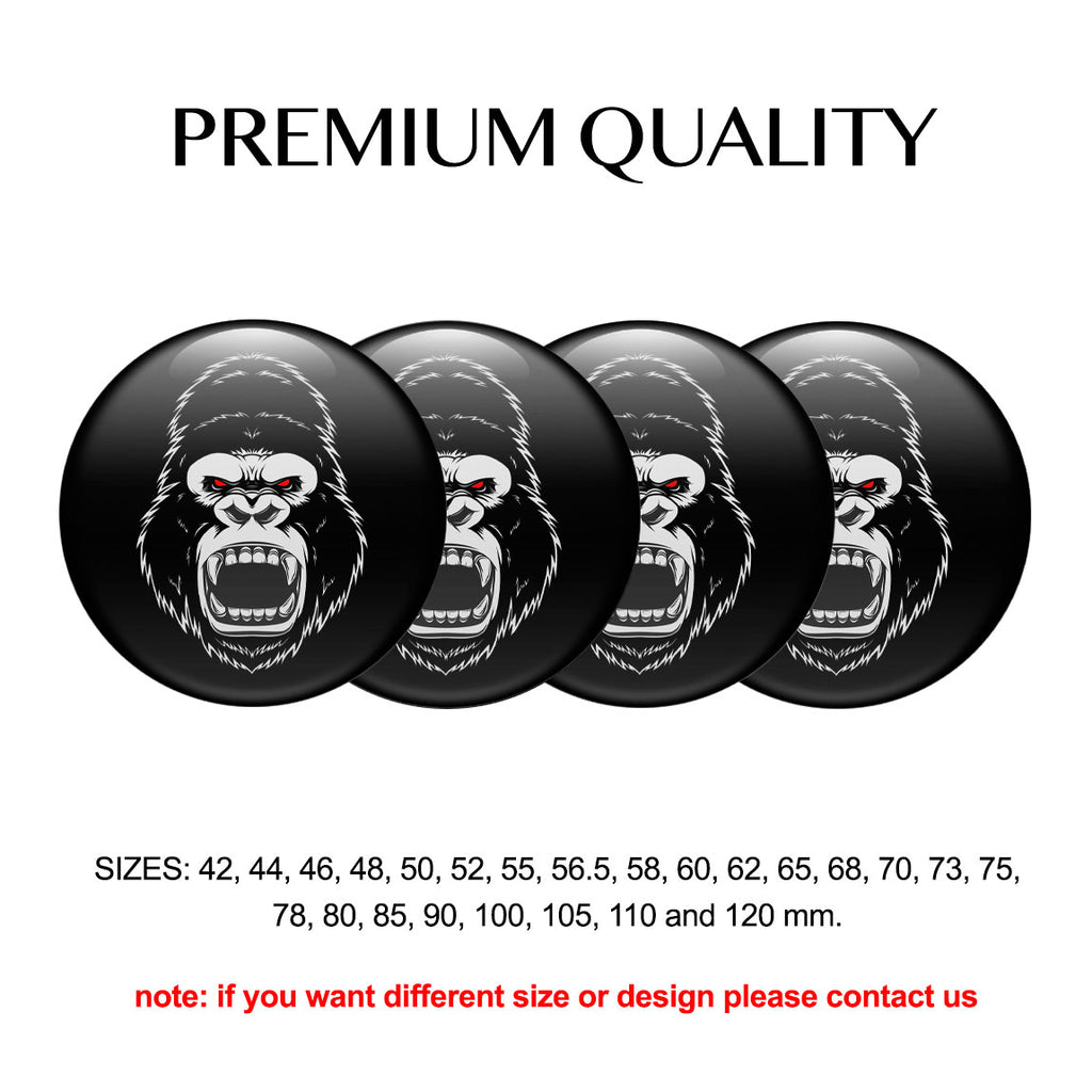 "4pcs. Set 42mm-120 mm.""The King"" Silicone,Adhesive Car Rims Wheel Center Stickers"