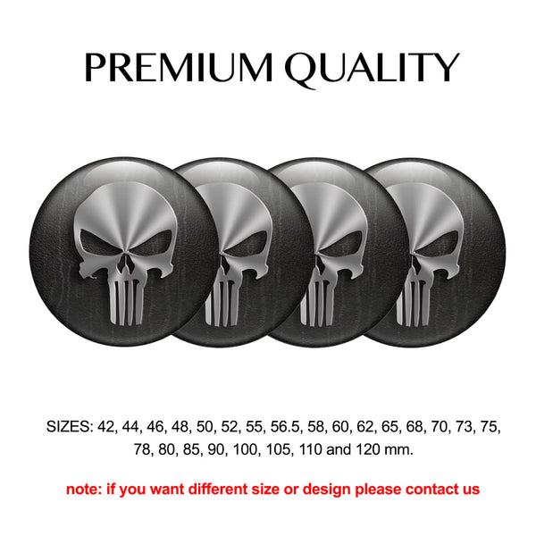"Copy of 4pcs. Set 42mm-120 mm.""Skull 3D"" Silicone,Adhesive Car Rims Wheel Center Stickers"