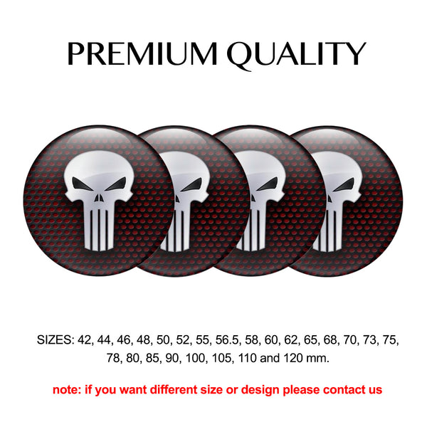 "4pcs. Set 42mm-120 mm.""Skull Point"" Silicone,Adhesive Car Rims Wheel Center Stickers"