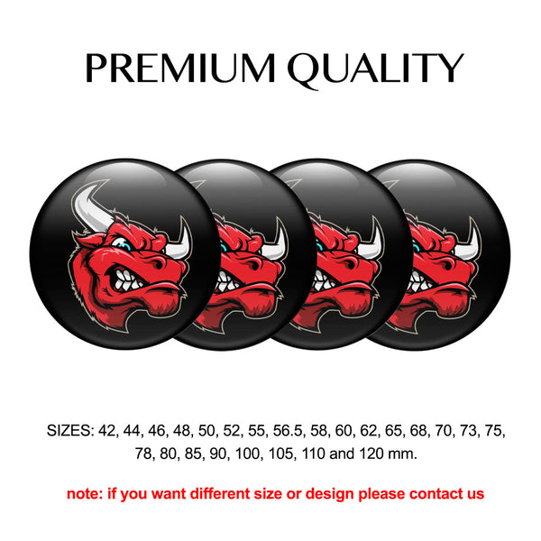 "4pcs. Set 42mm-120 mm.""Bull Speed"" Silicone,Adhesive Car Rims Wheel Center Stickers"