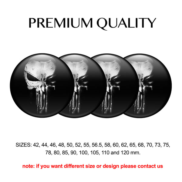 "4pcs. Set 42mm-120 mm.""Skull A"" Silicone,Adhesive Car Rims Wheel Center Stickers"