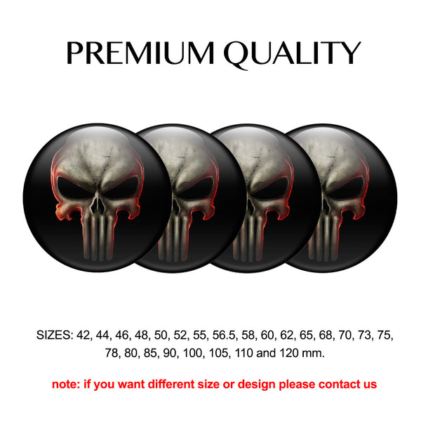 "4pcs. Set 42mm-120 mm.""Fire Skull"" Silicone,Adhesive Car Rims Wheel Center Stickers"
