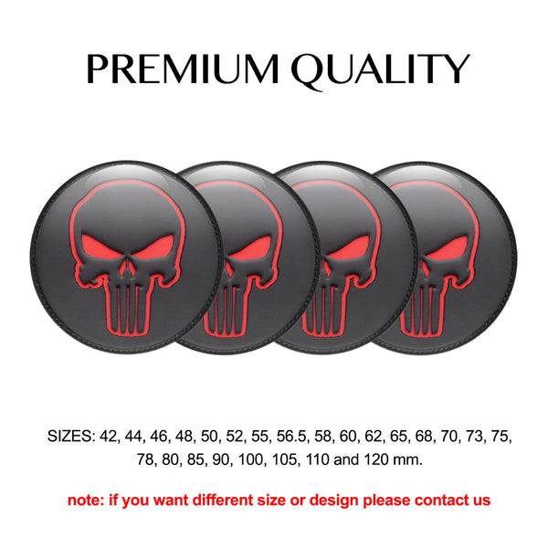 "4pcs. Set 42mm-120 mm.""Skull BR"" Silicone,Adhesive Car Rims Wheel Center Stickers"