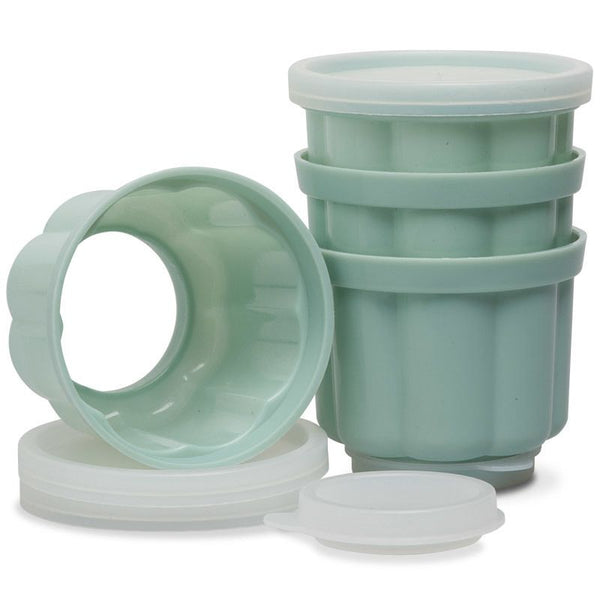 Jelly Moulds,Jelly moulds with lids on both ends. Set of 4.  7 x 7 x 6.5cm, capacity 210ml