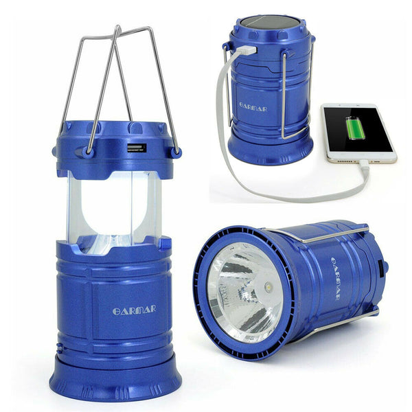 LED Solar Power Camping Hiking Lantern Rechargeable Tent Hanging Light Lamp USB - poptopdeal