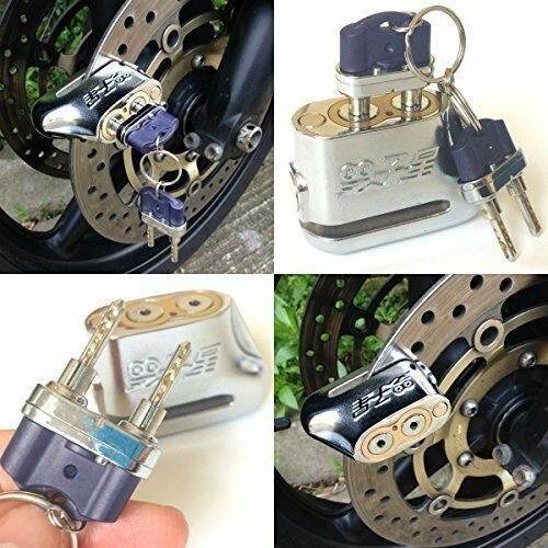 Anti-theft Dual Key Motorbike Motorcycle Scooter Disc Brake Lock Anti-Pick Lock - poptopdeal