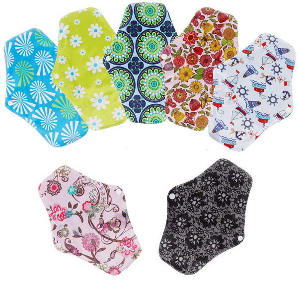 6 X Washable Cloth Menstrual Pad Sanitary Bamboo Reusable Sanitary Panty Liners - poptopdeal