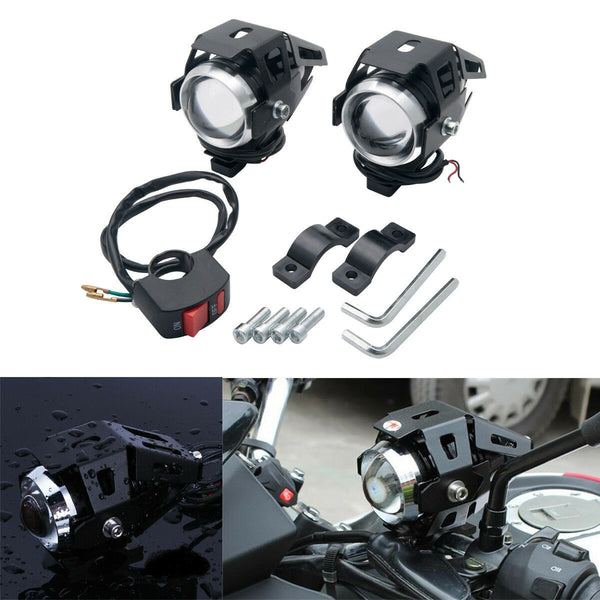 2 X Motorcycle Motorbike CREE LED U5 Headlight Driving Fog Spot Lights + Switch - poptopdeal