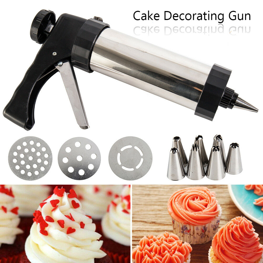 22pc Stainless Steel Biscuit Cookie Icing Cake Decorating Set Piping Gun Tools - poptopdeal