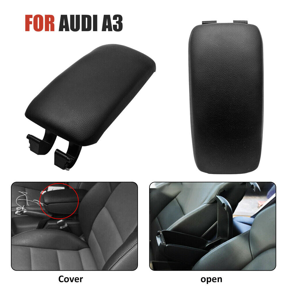 For Audi A3 8P Leather Center Console Armrest Lid Cover 03-13 8P0864245P Black - poptopdeal