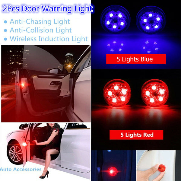 2pcs Universal Car Door LED Opening Warning Lamp Safely Flash Signal Light UK - poptopdeal