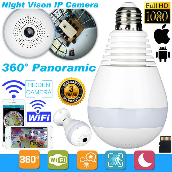360°HD Wifi Bulb Hidden IP Camera 1080P Panoramic Security Spy Cam LED Light UK - poptopdeal
